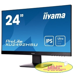 "IIYAMA 23.8"" XU2492HSU-B1 черный {IPS LED 1920x1080 5ms 16:9 250cd 178гр/178гр D-Sub HDMI DisplayPort}"
