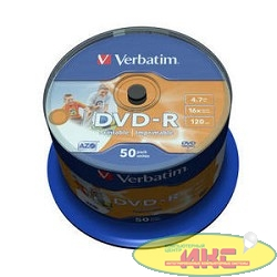 Verbatim  Диски DVD-R  4.7Gb 16х, Wide Photo InkJet Printable, 50шт, Cake Box (43533/43649)
